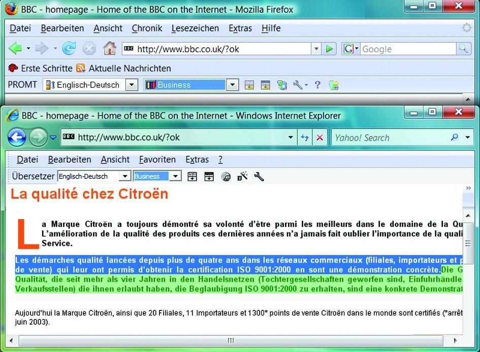 Screenshot vom Programm: Promt Office Französisch <=> Deutsch